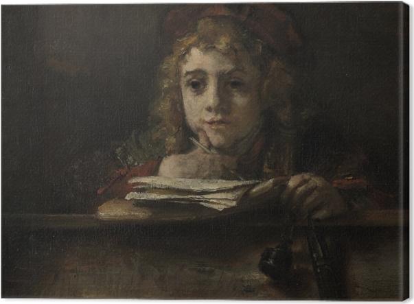 Leinwandbild Rembrandt - Porträt des Titus schreibend an einem Tisch - Reproduktion