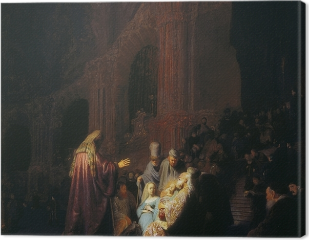 Leinwandbild Rembrandt - Simeon im Tempel - Reproduktion