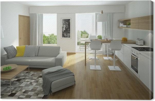 Leinwandbild Rendering von einem modernen Wohnzimmer mit offener ...