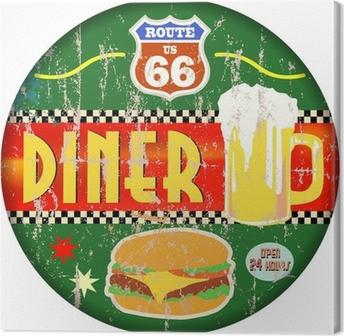 Leinwandbild Retro amerikanische Route 66 Diner Zeichen, Vektor-EPS