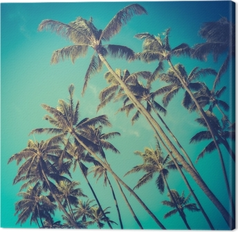 Leinwandbild Retro Diagonal Palmen in Hawaii