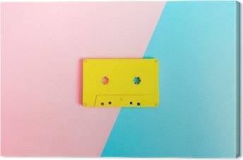 Leinwandbild Retro Kassetten auf hellem Hintergrund