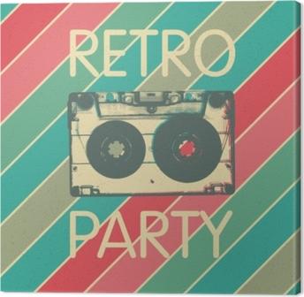 Leinwandbild Retro Musik Party Poster Design. Vintage Party Einladungsvorlage für Disco-Musik.