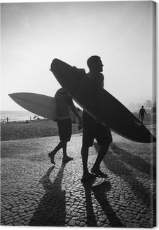 Leinwandbild Rio Surfbrett Sonnenuntergang Surfers Arpoador Brasilien