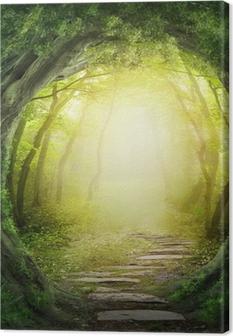 Leinwandbild Road in dunklen Wald