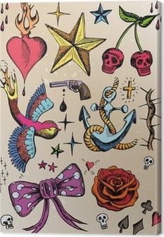 Leinwandbild Rockabilly Tattoo vorlagen farbig