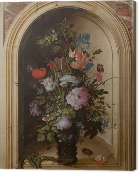 Leinwandbild Roelant Savery - Vase with Flowers in a Stone Niche - Reproduktion