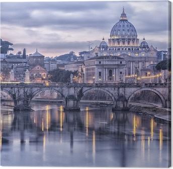 Leinwandbild Rom und dem Fluss Tiber in der Abenddämmerung