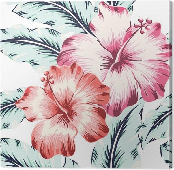 Leinwandbild Rosa und rote hibiscuses mit Blättern auf dem weißen ...