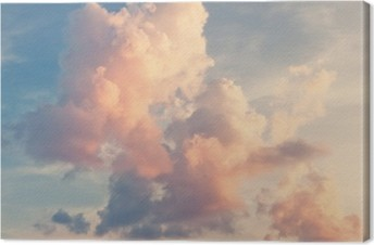 Leinwandbild Rosa Wolken auf blauem Himmel
