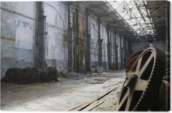 Leinwandbild Rostigen alten Metall-Gadgets in einem verlassenen Schiff Fabrik