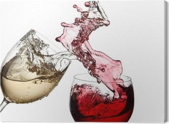 Leinwandbild Rot-und Weißwein zusammen