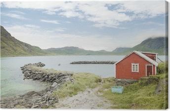 Leinwandbild Rote Hütte auf den Lofoten, Norwegen