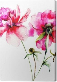 Leinwandbild Rote Pfingstrose Blumen