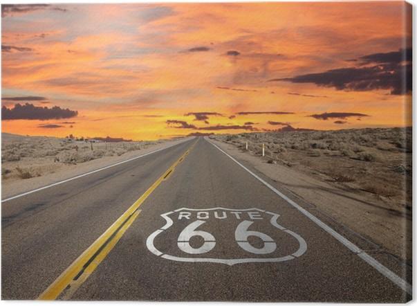 Leinwandbild Route 66 Bürgersteig Zeichen Sonnenaufgang Mojave-Wüste - Themen