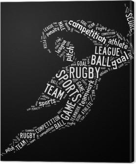 Leinwandbild Rugby Piktogramm mit weißen Formulierungen