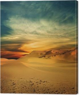 Leinwandbild Sandy Wüste bei Sonnenuntergang Zeit