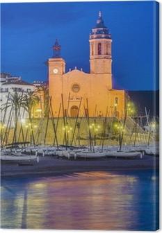 Leinwandbild Sant Bartomeu i Santa Tecla Kirche in Sitges, Spanien