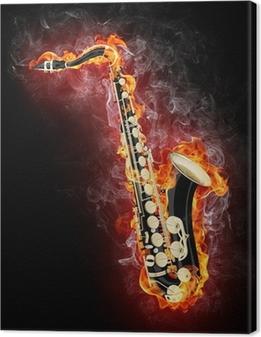 Leinwandbild Saxophone in Flame