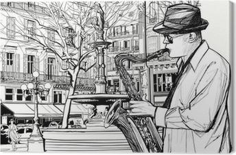 Leinwandbild Saxophonist in einer Straße von Paris