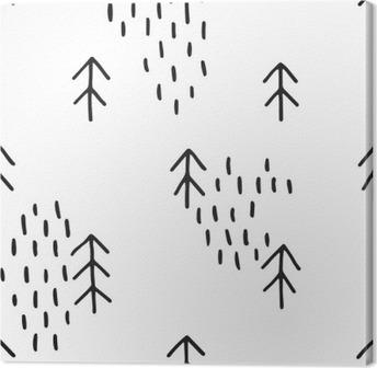 Leinwandbild Scandinavian Muster mit Tannen. Nahtlose Winter Muster, Hand in schwarzer Tinte gezeichnet. Perfekt für die Geschenkverpackung oder Druck auf Stoff. Nahtlose minimal Weihnachtsmuster.