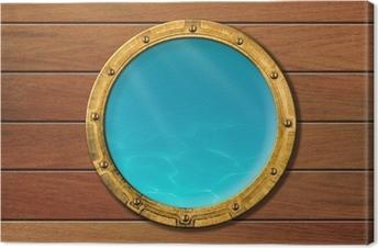 Leinwandbild Schiff Bullauge mit Unterwasser-Blick