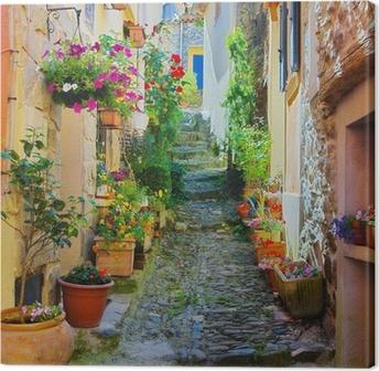 Leinwandbild Schmale und bunte Gasse in einem Dorf in der Provence