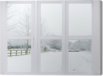 Leinwandbild Schnee-Szene Fenster