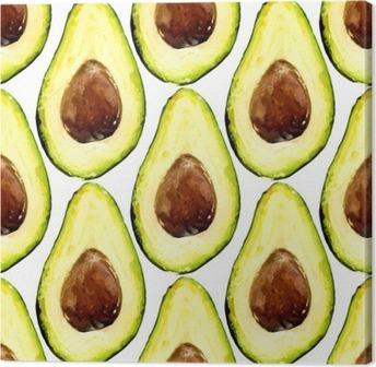 Leinwandbild Schöne Avocado wiederholte Muster, bestand aus Hälften einer Frucht mit Grube. Vektor-Illustration.