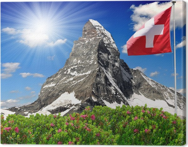 leinwandbild sch ne berg matterhorn mit schweizer flagge schweizer alpen pixers wir leben. Black Bedroom Furniture Sets. Home Design Ideas