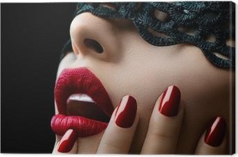 Leinwandbild Schöne Frau mit schwarzer Spitze Maske über die Augen