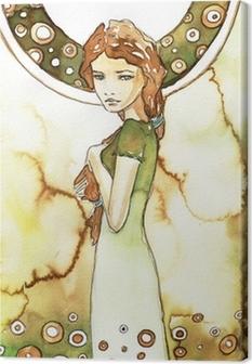 Leinwandbild Schöne Mädchen in einem grünen Art Nouveau