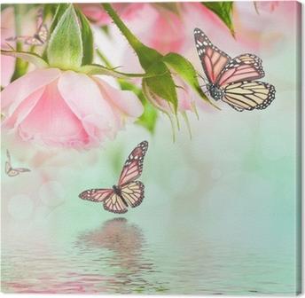 Leinwandbild Schöne Rosen und Schmetterling, Blume, Blumenhintergrund