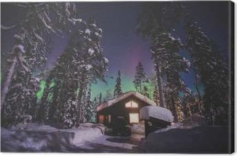 Leinwandbild Schönes Bild von massiven bunten grün lebendige Aurora Borealis, Aurora Polaris, auch bekannt als Nordlichter in den Nachthimmel über Winter Lappland Landschaft, Norwegen, Skandinavien