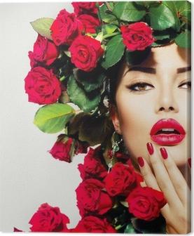 Leinwandbild Schönheit Mode Modell Mädchen-Portrait mit roten Rosen Frisur