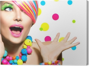 Leinwandbild Schönheit Porträt mit bunten Make-up Maniküre und Frisur