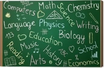 Leinwandbild Schulfächer und Kritzeleien auf Tafel