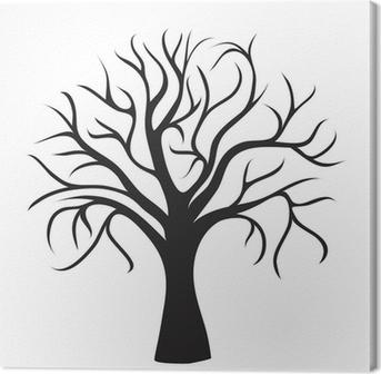 Leinwandbild Schwarz-Baum ohne Blätter