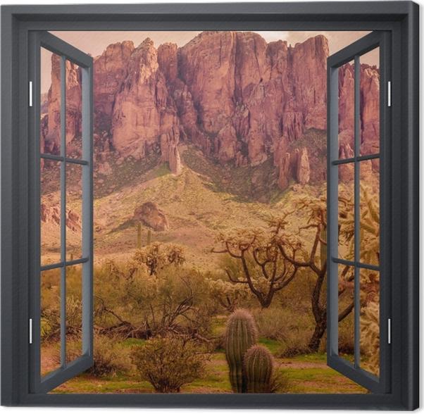 Leinwandbild Schwarz-Fenster geöffnet - Arizona - Blick durch das Fenster