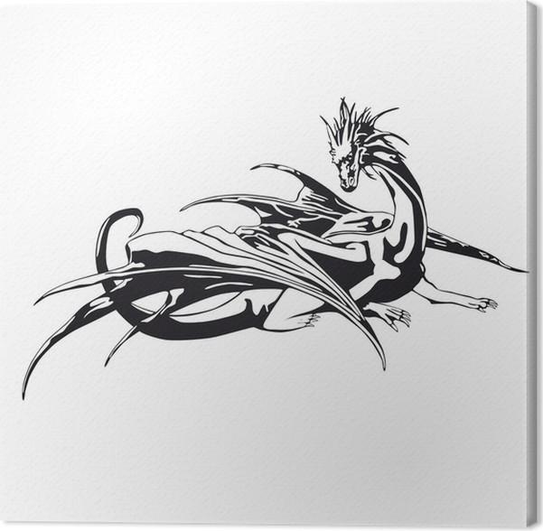 Leinwandbild Schwarz-Weiß-Drachen • Pixers® - Wir leben, um zu verändern