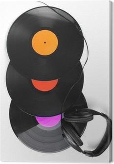 Leinwandbild Schwarzes Vinyl-Platten und Kopfhörer isoliert auf weiß