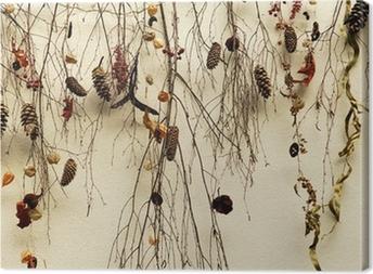Leinwandbild Schweiz, Zürich: getrocknete Zweige an einer Wand