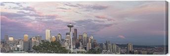 Leinwandbild Seattle City Downtown Skyline bei Sonnenuntergang-Panorama