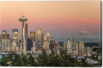 Leinwandbild Seattle Skyline und Mount Rainier bei Sonnenuntergang