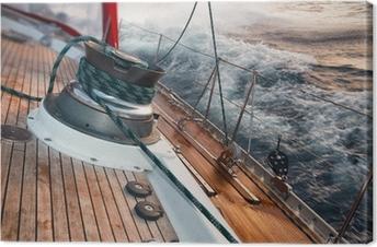 Leinwandbild Segelboot unter dem Sturm, Detail an der Winde