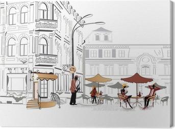 Leinwandbild Series of street cafe in Skizzen