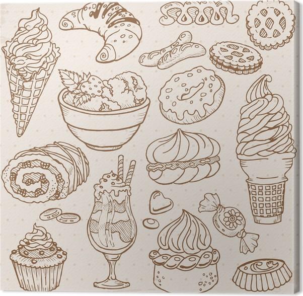 Leinwandbild Set Von Kuchen Sussigkeiten Und Desserts In Vektor