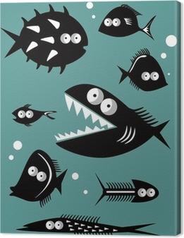 Leinwandbild Set von lustigen Fische