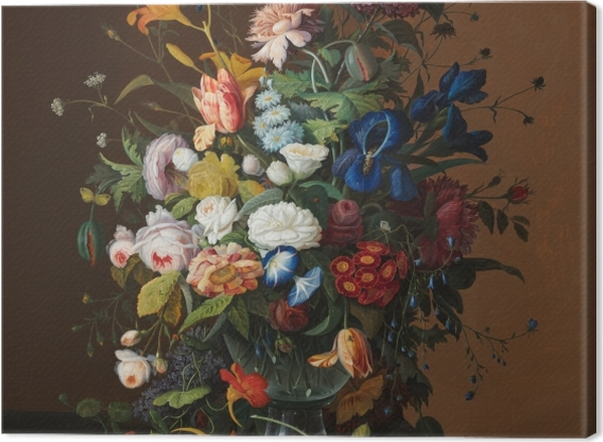 Leinwandbild Severin Roesen - Flower Still Life with Bird's Nest - Reproduktion