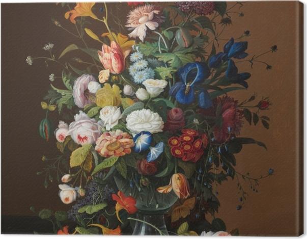 Leinwandbild Severin Roesen - Flower Still Life with Bird's Nest - Reproduktion